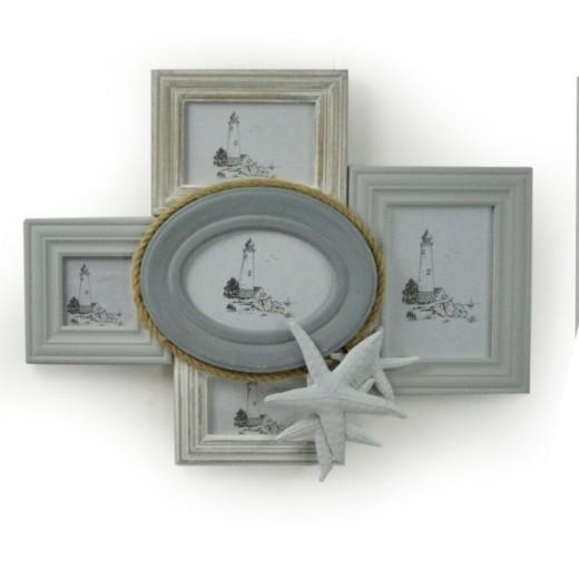Mobile vetrina provenzale anta singola in legno bianco for Portafoto multiplo da tavolo