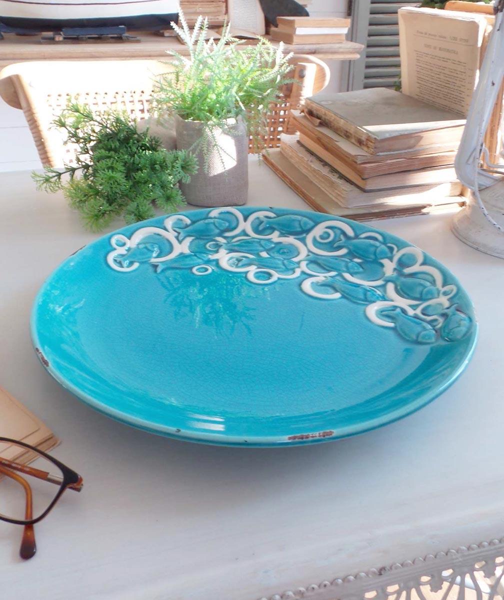 Piatto da portata deep blue in ceramica turchese mobilia - Piatto da portata ...